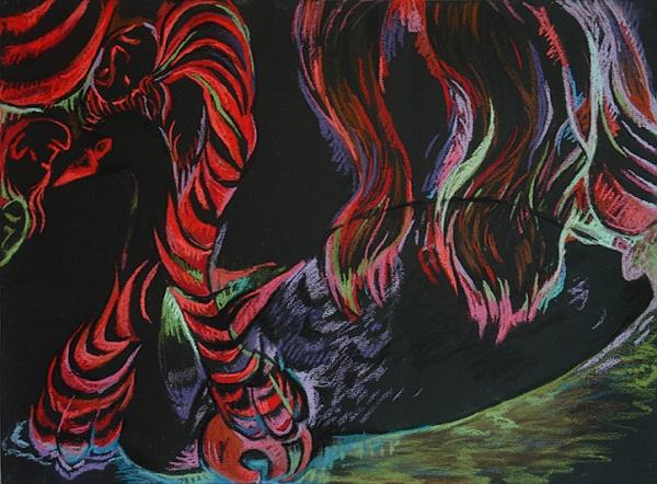"Dark Water Hands of Hair, pastel on paper, 30""x 22"", 2005."
