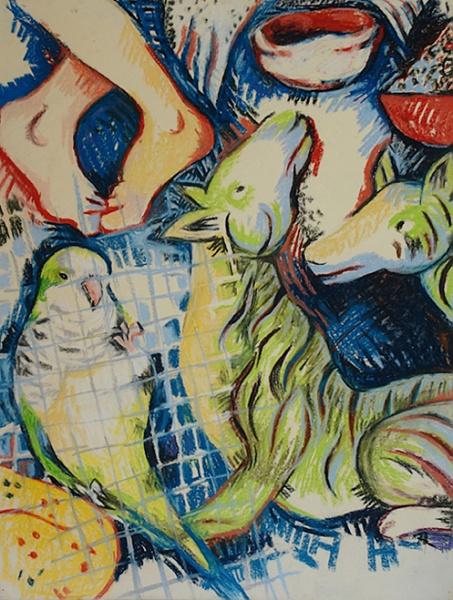 "Desire, pastel on paper, 20""x 26"", 2004."